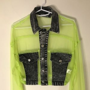 BNWOT neon green/denim Jacket Dollskill sz small